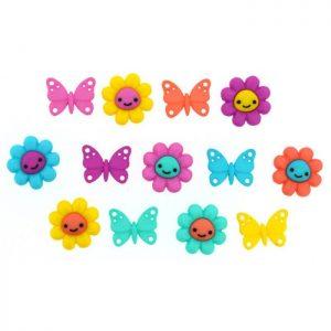 Magomar Patch Botones Decorativos IDEAS - Fiel of Happiness ( flores y mariposas )